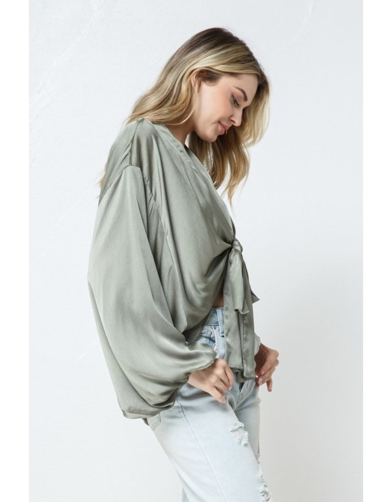 In the Beginning In the Beginning Satin Front Tie Blouse