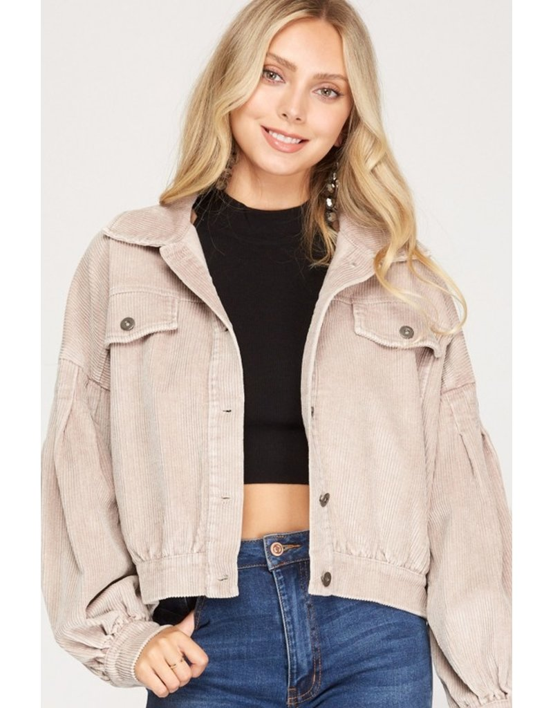Sung Light Clothing Sung Light Clothing Balloon Sleeve Button Down Corduroy Jacket