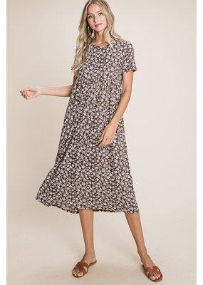 Sung Light Clothing Floral Print Midi Dress