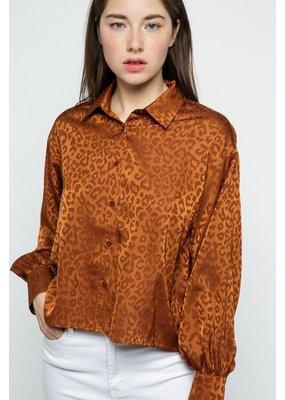 Sung Light Clothing Satin Leopard Print Button Front Blouse