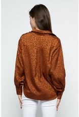 Sung Light Clothing Sung Light Clothing Satin Leopard Print Button Front Blouse