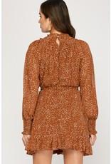 La Vida La Vida Smocked Long Sleeve Woven Print Dress