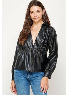 Strut & Bolt Double Overlap Faux Leather Shirt Jacket