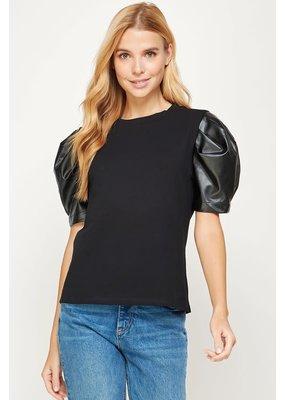 Strut & Bolt Puff Leather T-Shirt Top