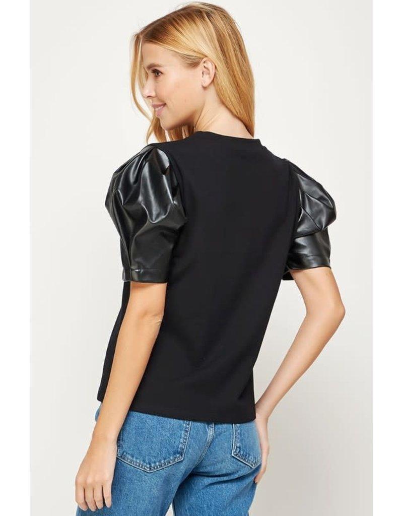 Strut & Bolt Strut & Bolt Puff Leather T-Shirt Top