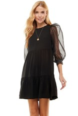 TCEC TCEC Organza Puff Sleeve Woven Dress