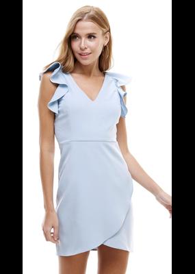 TCEC V Neck Woven Dress w/ Ruffle Trim