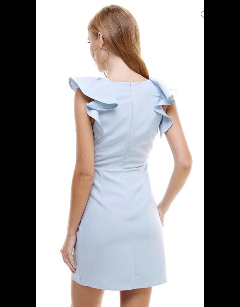 TCEC TCEC V Neck Woven Dress w/ Ruffle Trim