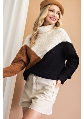 ee:some Color Block Knit Drapey Sweater