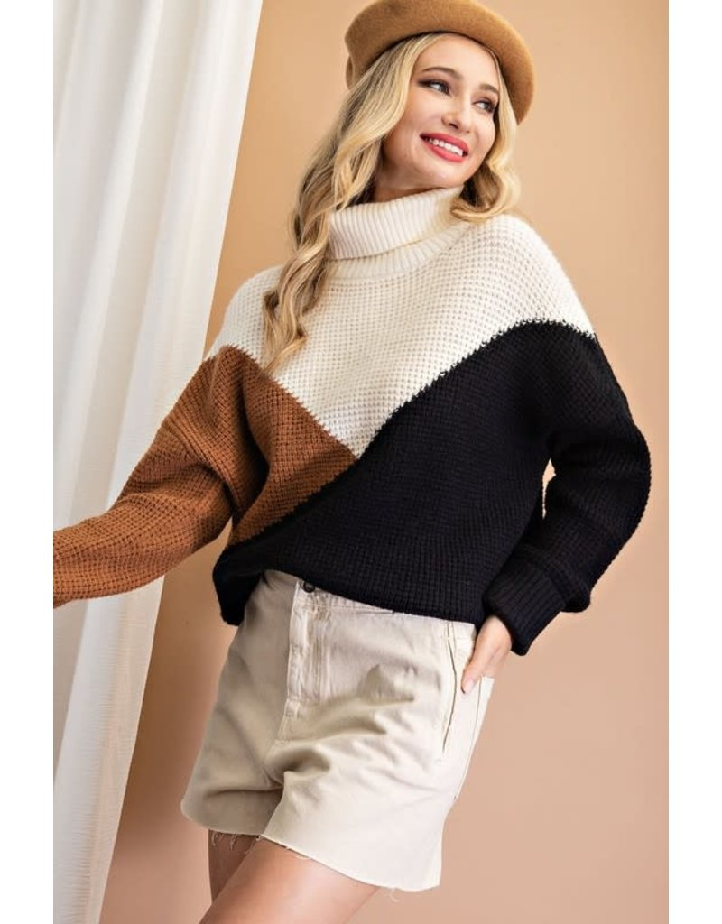 ee:some ee:some Color Block Knit Drapey Sweater