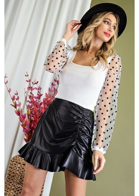 ee:some Ruched Faux Leather Skirt