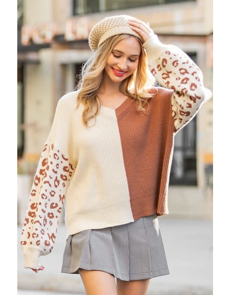ee:some ee:some Two Tone Knit Sweater