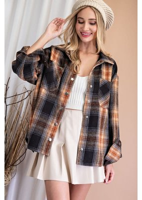 ee:some Drapey Flannel Shirt Jacket