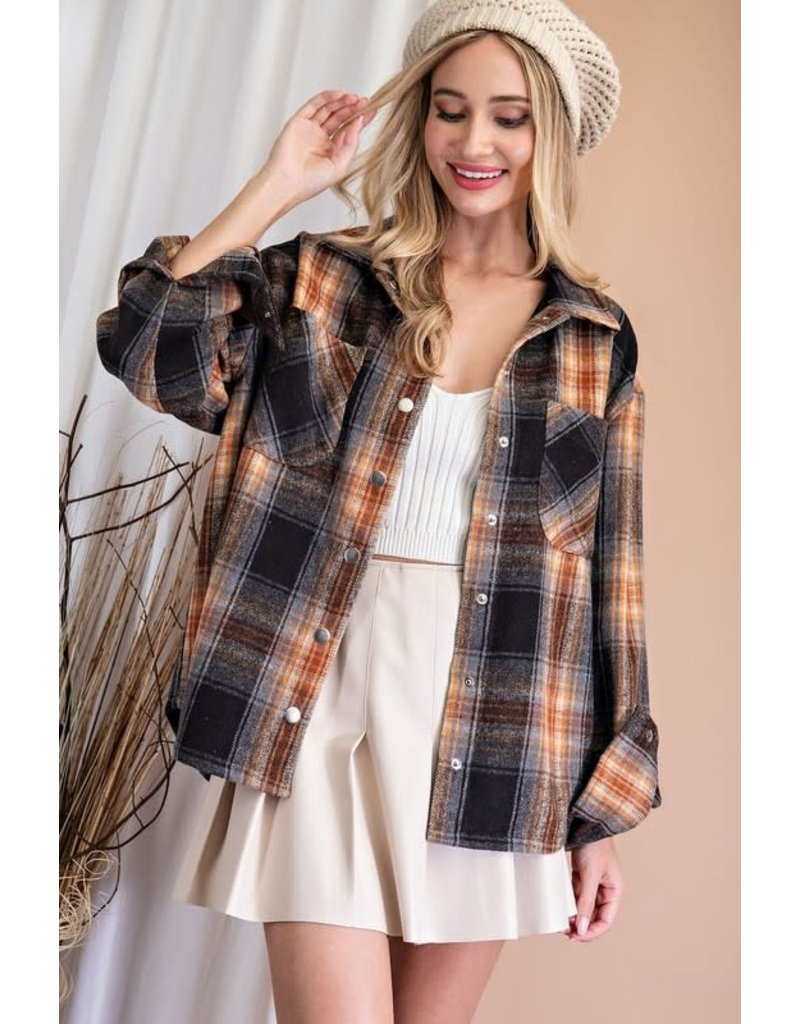 ee:some ee:some Drapey Flannel Shirt Jacket