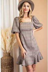 ee:some ee:some Puff Sleeve Plaid Dress