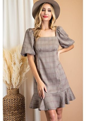 ee:some Puff Sleeve Plaid Dress