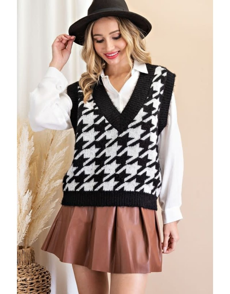 ee:some ee:some Houndstooth Sweater Vest