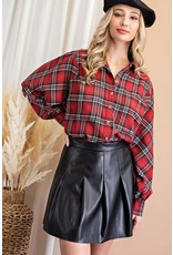 ee:some ee:some Faux Leather Pleated Skirt