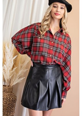 ee:some Faux Leather Pleated Skirt