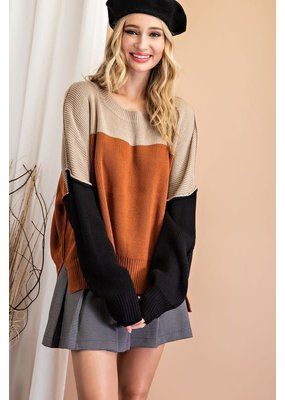 ee:some Ribbed Slouchy Color Block Sweater