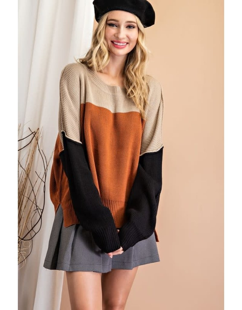 ee:some ee:some Ribbed Slouchy Color Block Sweater