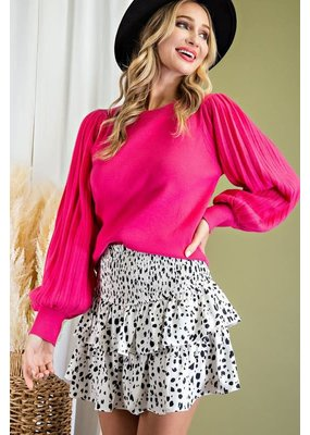 ee:some Pleat Puff Sleeve Knit Sweater