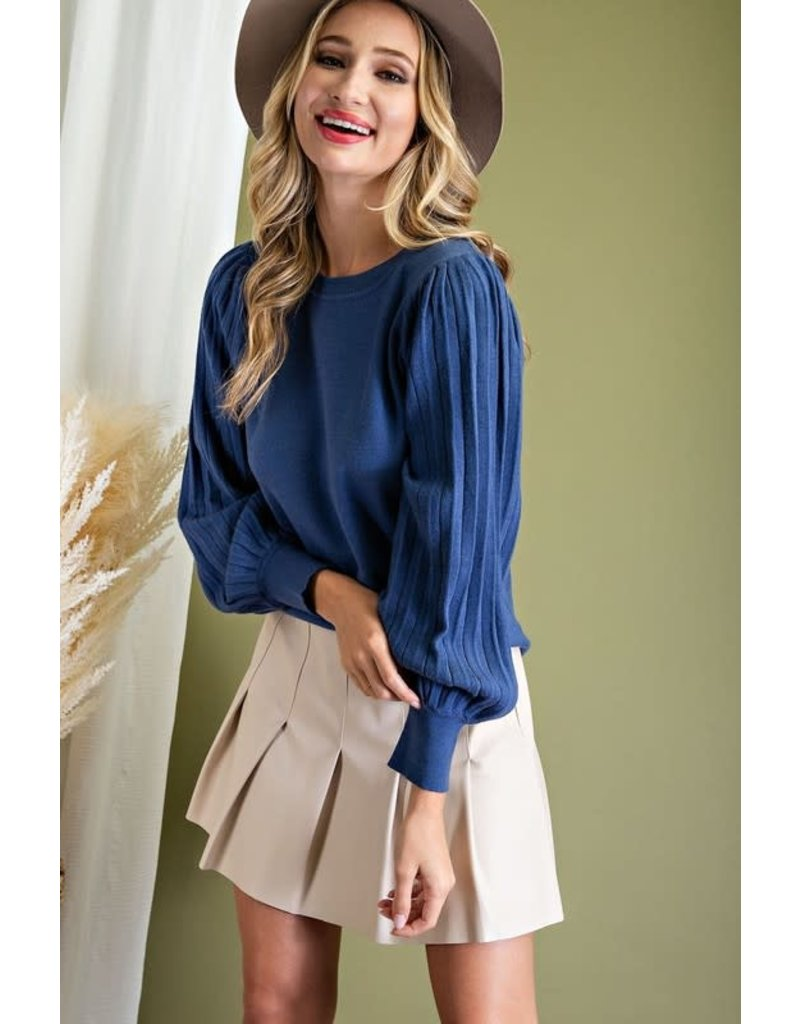 ee:some ee:some Pleat Puff Sleeve Knit Sweater