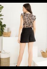 THML THML Cheetah Print Ruffle Sleeve Top
