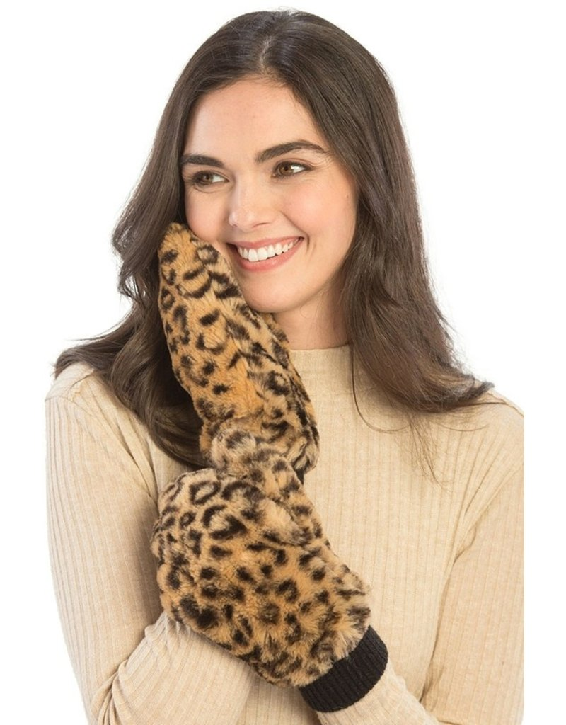 Suzie Q Suzie Q Leopard Faux Fur Mittens
