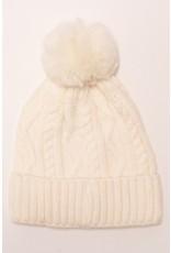 Suzie Q Suzie Q Knitted Fur Pom Pom Beanie