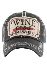 "Suzie Q Suzie Q ""It's Wine O'Clock Somewhere"" Vintage Baseball Hat"