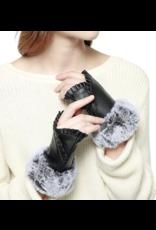 Suzie Q Suzie Q Pleated Fur Trimmed Gloves