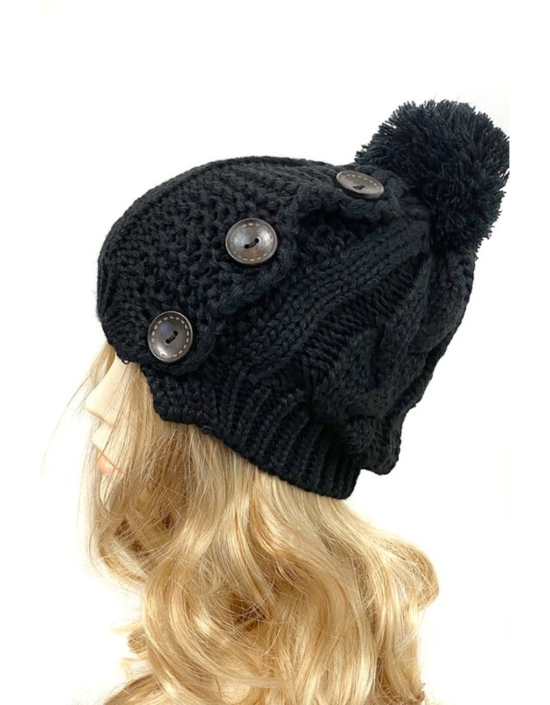 Suzie Q Suzie Q Cable Knit 3 Button Pom Pom Hat