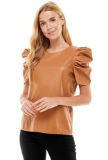 TCEC TCEC Faux Leather Puff Sleeve Top