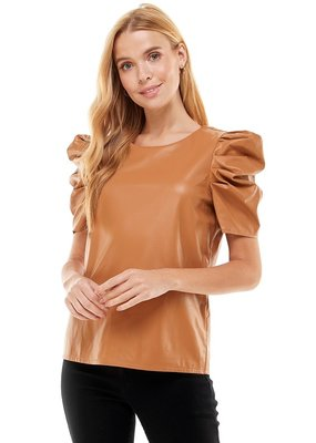 TCEC Faux Leather Puff Sleeve Top