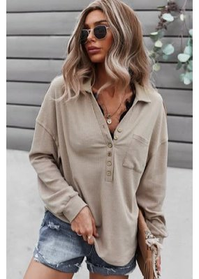 Miss Sparkling Button Front Long Sleeve Top