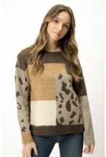 Mystree Mystree Color Block Animal Print Sweater