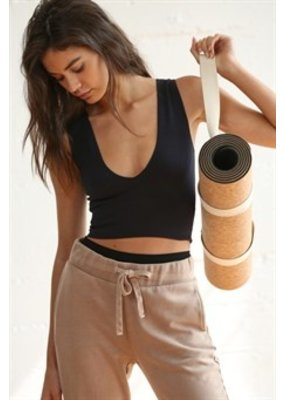 By Together Seamless V Neck Ribbed Crop Tank