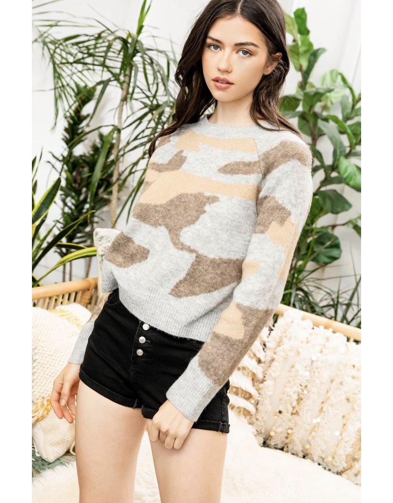 THML THML Camo Print Sweater