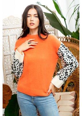 THML Leopard Sleeve Sweater