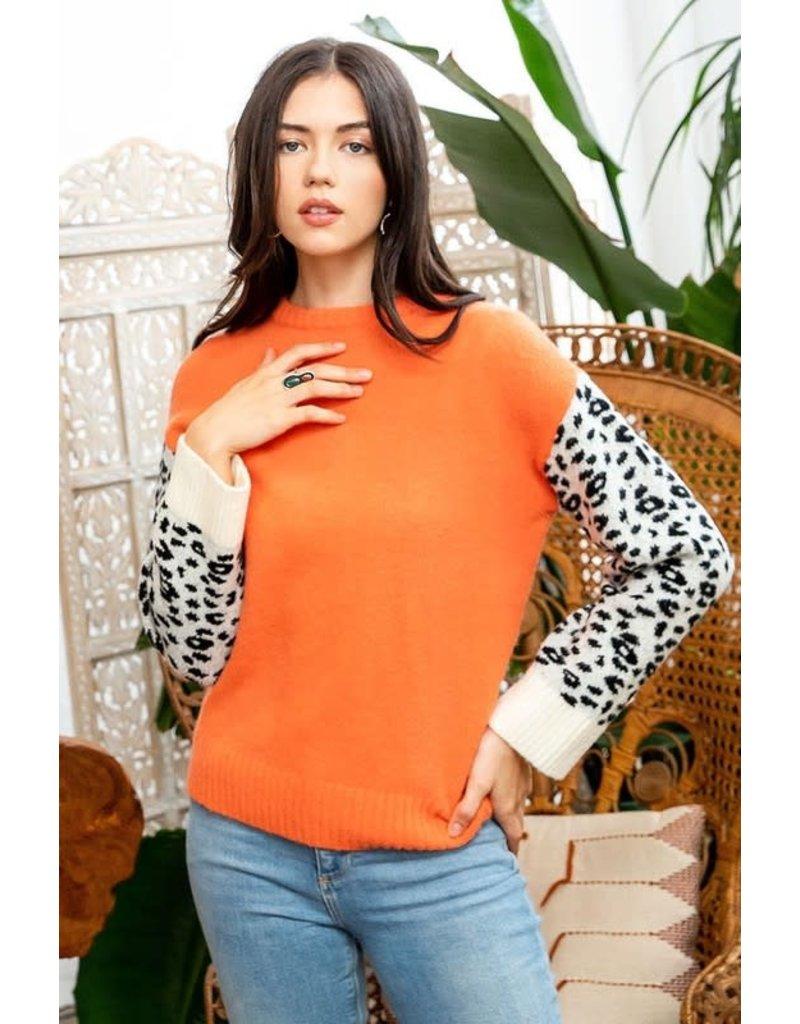 THML THML Leopard Sleeve Sweater