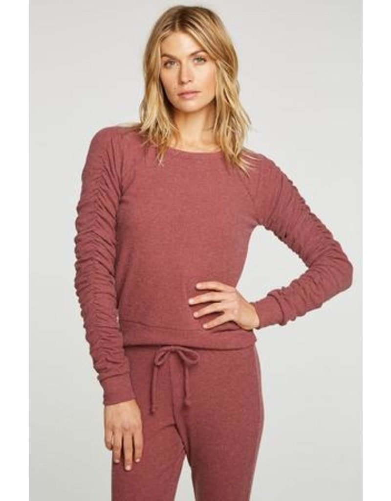 Chaser Chaser Love Rib Shirred Long Sleeve Raglan Pullover