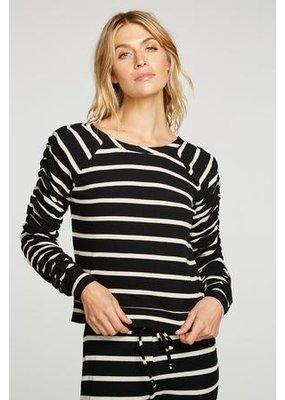 Chaser Love Rib Shirred Long Sleeve Raglan Pullover