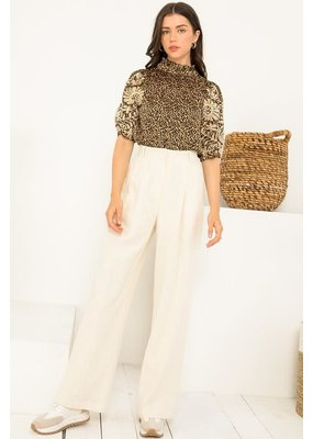 THML Embroidered Sleeve Leopard Top