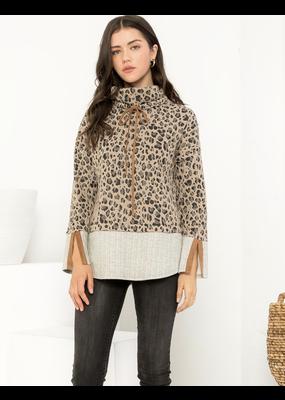 THML Leopard High Neck Sweater