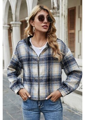 Miss Sparkling Plaid Zip Up Hooded Jacket