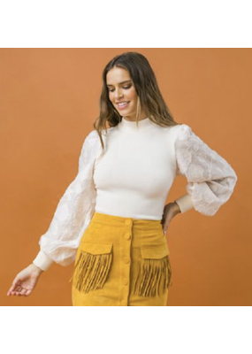 Flying Tomato Calin Sleeve Statement Top