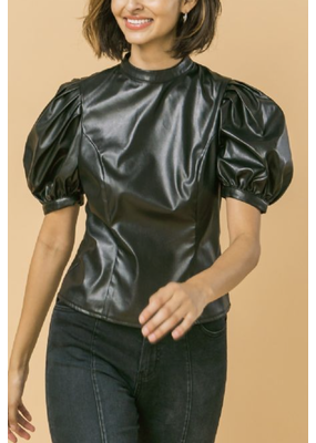 Flying Tomato Faux Leather Top