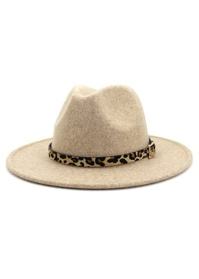 Miss Sparkling Leopard Trimmed Panama Hat