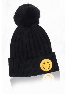 Suzie Q Smiley Face Pom Pom Hat